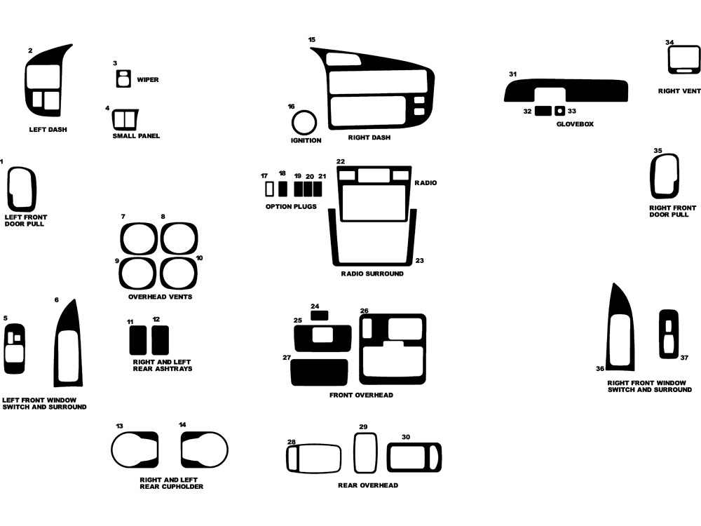 Toyota Sienna 1998-2000 Dash Kit Diagram