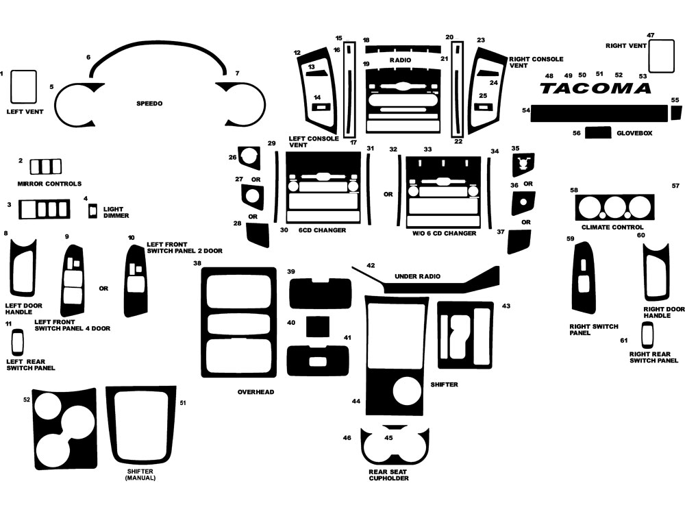 Toyota Tacoma 2005-2011 Dash Kit Diagram