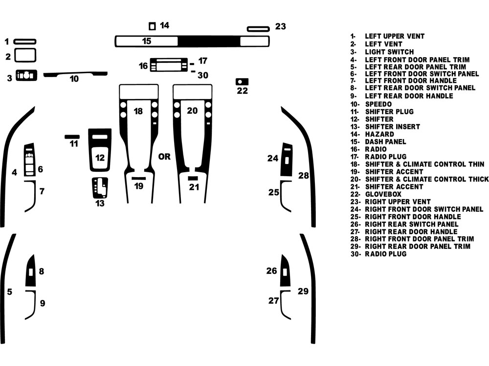 Volvo S80 2007-2011 Dash Kit Diagram