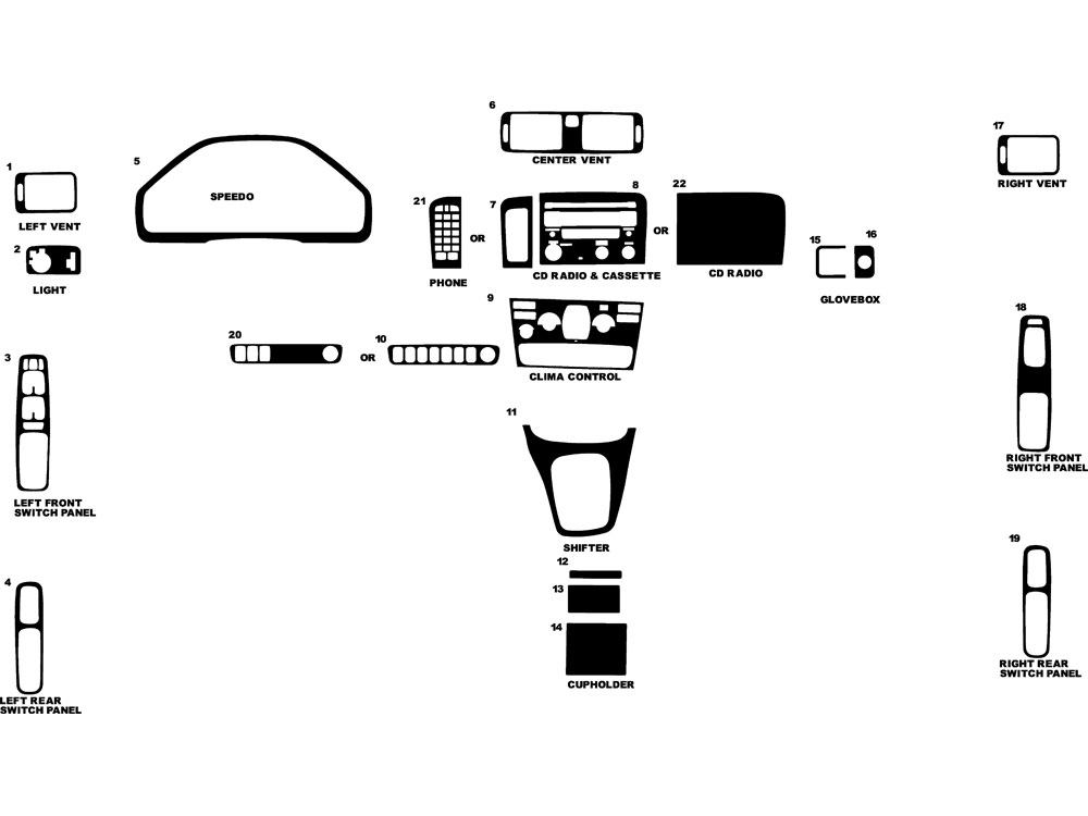 Volvo S80 1999-2003 Dash Kit Diagram