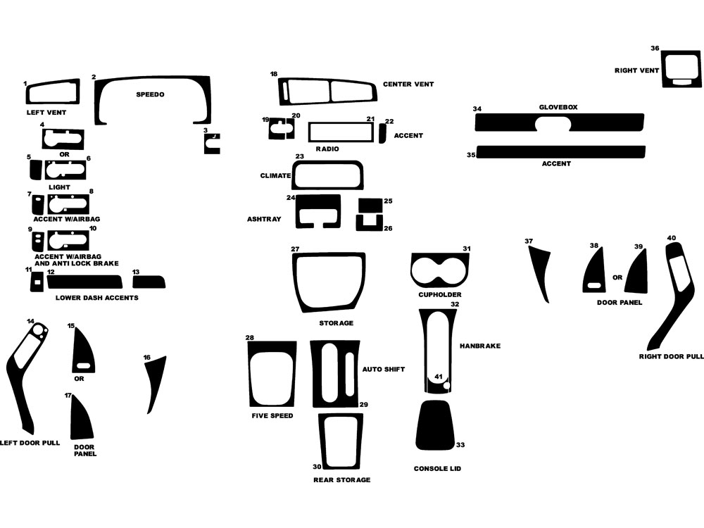 Volkswagen Jetta 1994-1999 Dash Kit Diagram