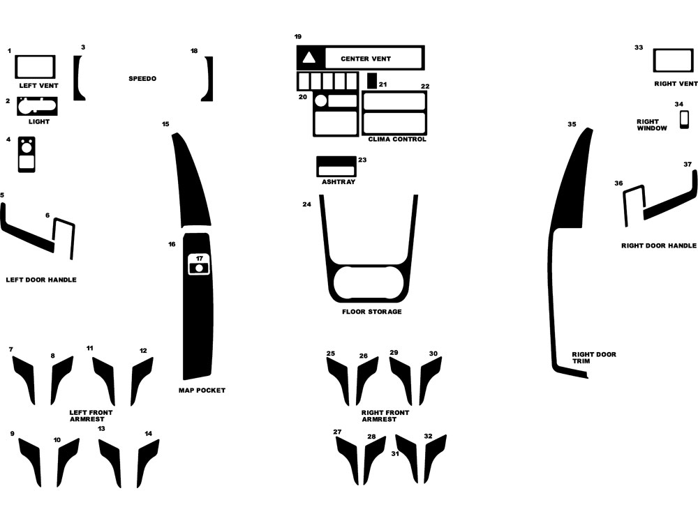 Volkswagen EuroVan 1999-2004 Dash Kit Diagram