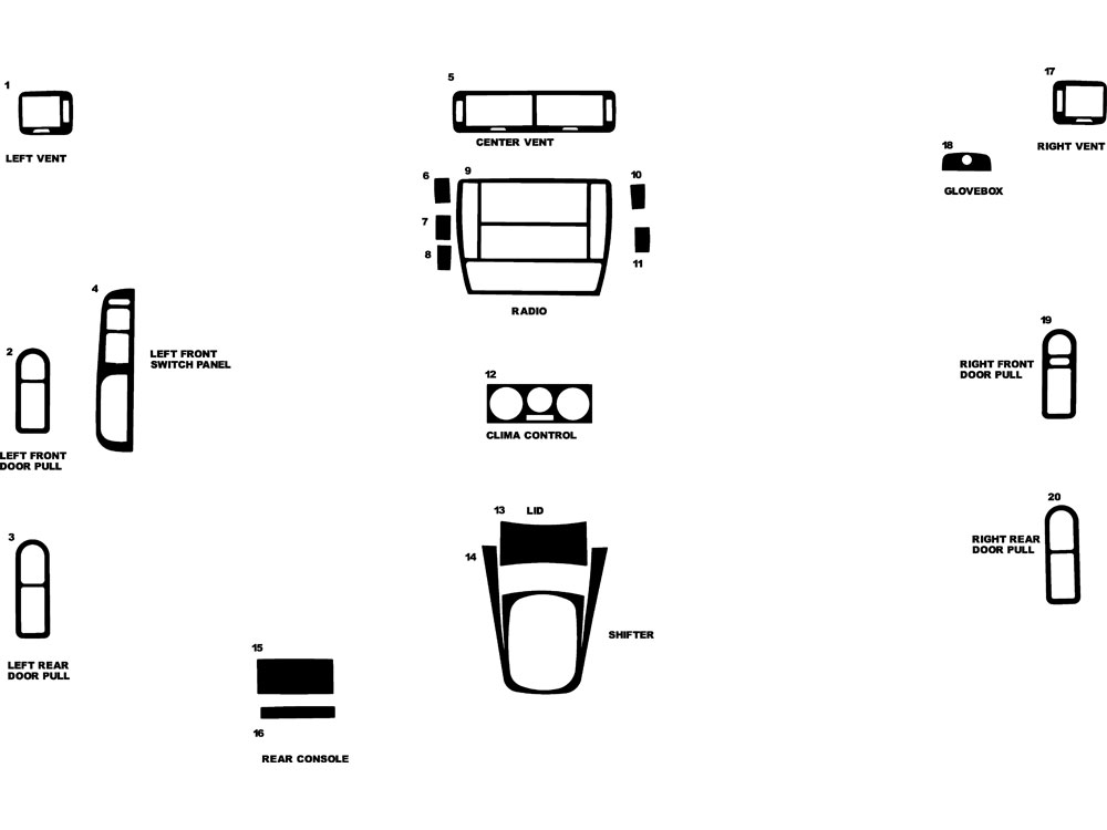 Volkswagen Passat 1998-1999 Dash Kit Diagram