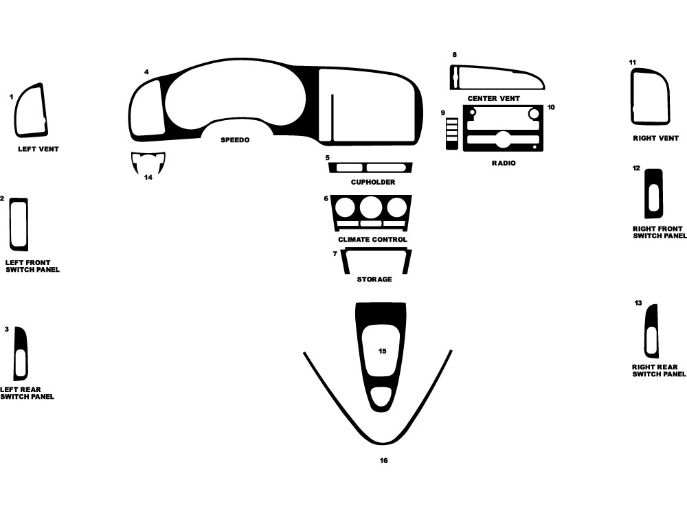 Saab 9-3 2007-2011 Dash Kit Diagram