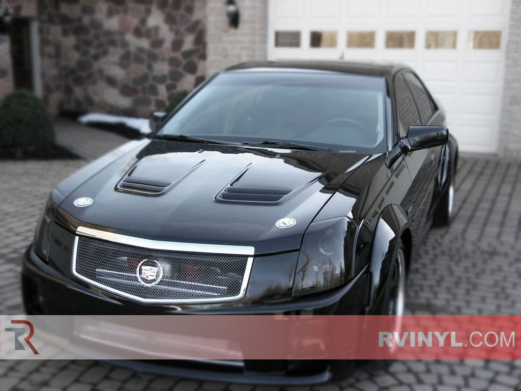 rtint cadillac cts sedan 2003 2007 headlight tint film. Black Bedroom Furniture Sets. Home Design Ideas