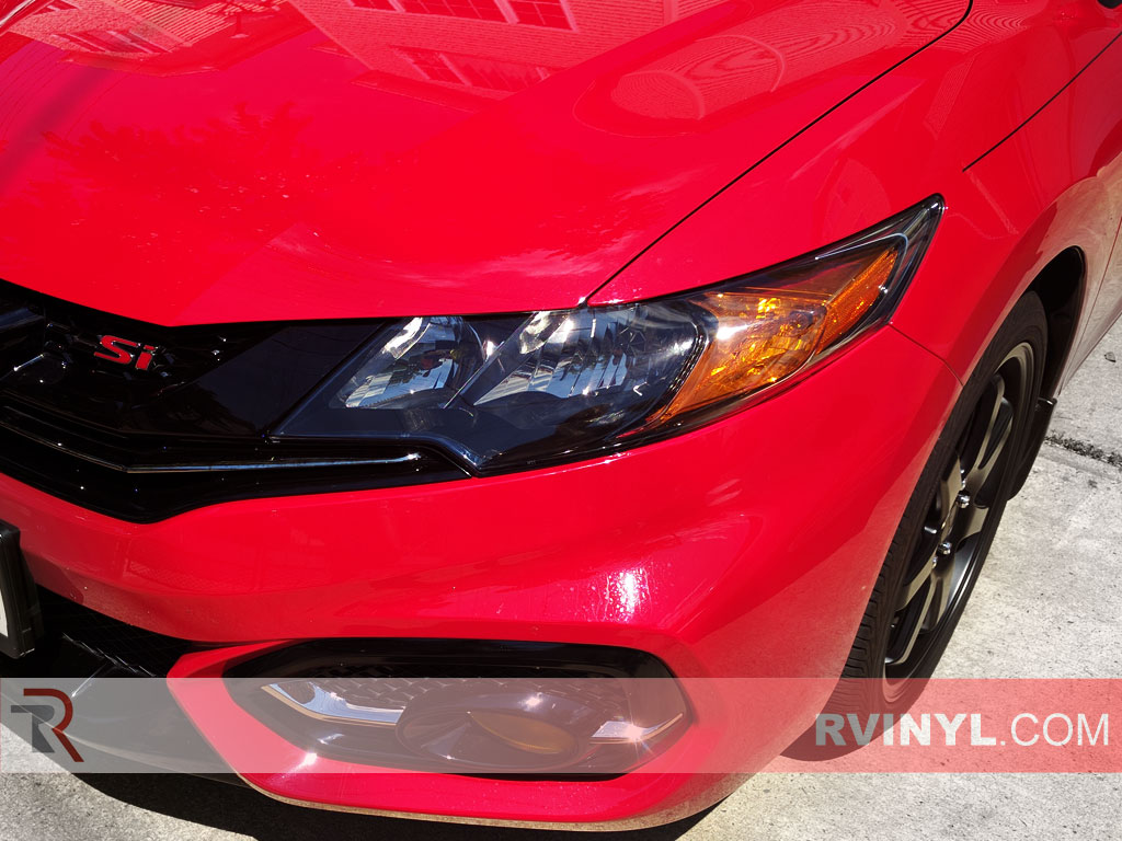 Rtint honda civic coupe 2014 2015 headlight tint film - 2015 honda civic si interior lights ...