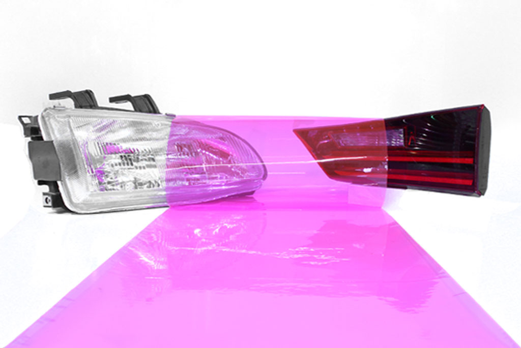 Pink Smoke Tint Car Light Wraps
