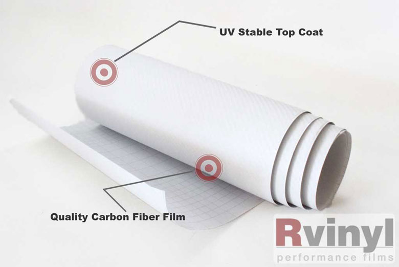White 3D Carbon Fiber Vinyl Sheets