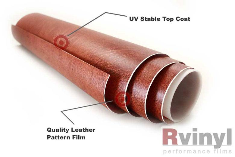 Rwraps Brown Leather Vinyl Wrap Car Wrap Film