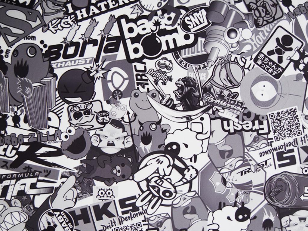 Rwraps Gear Head Sticker Bomb Vinyl Wrap Car Wrap Film