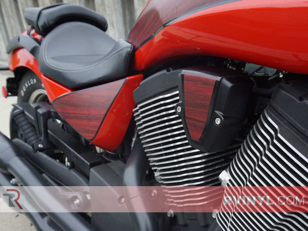 Motorcycle Wood Grain Mahogany Vinyl Wraps