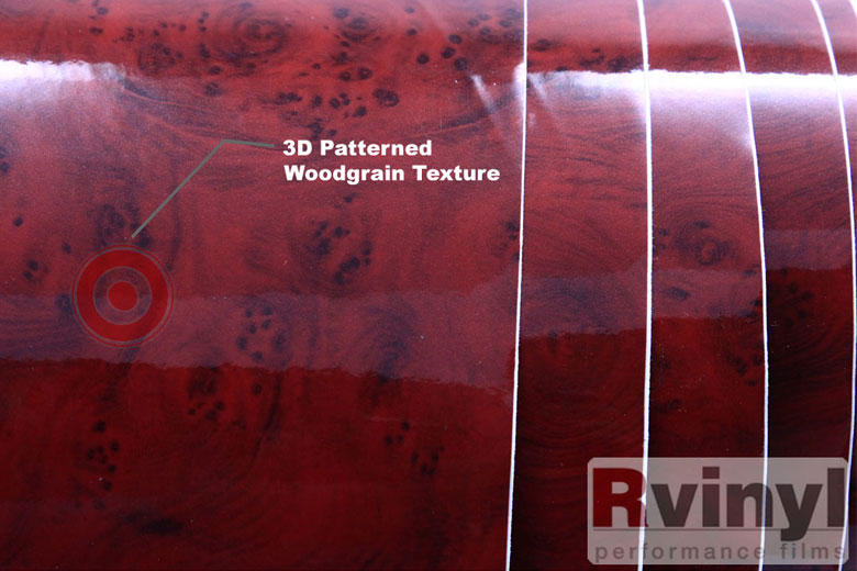 Dark Burlwood Wood Grain Vinyl Film With Printed Finish