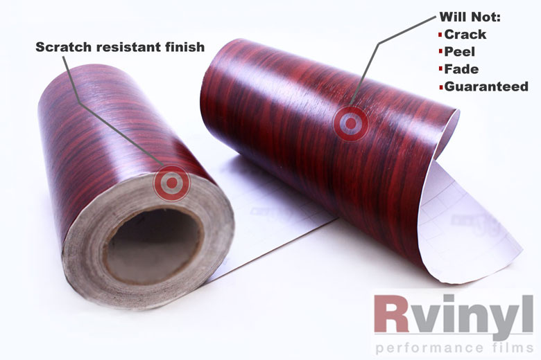 Mahogany Wood Grain Vinyl Wrap Film With Embossed Finish