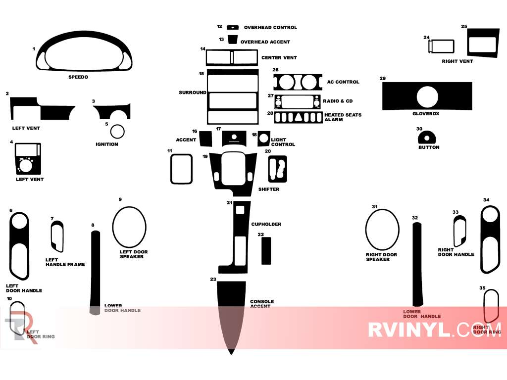 2004-2008 Chrysler Crossfire Dash Kit Diagram