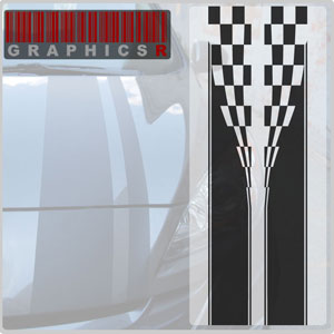 Racing Stripes - Checkered Flag Graphic