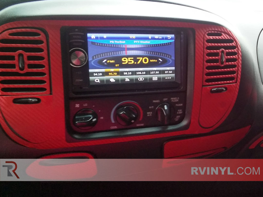 Red carbon fiber center vent and console surround 1998 ford f 150 dash kit
