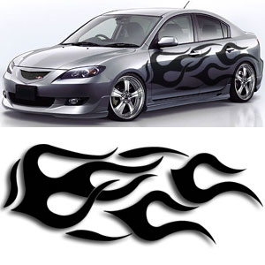Flames Graphic Decal Kit Diagram