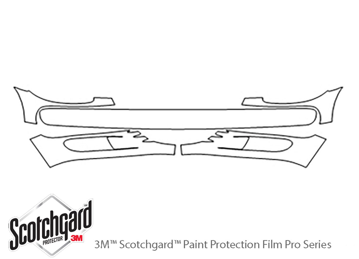 Chrysler Pt Cruiser 2001-2005 3M Clear Bra Bumper Paint Protection Kit Diagram
