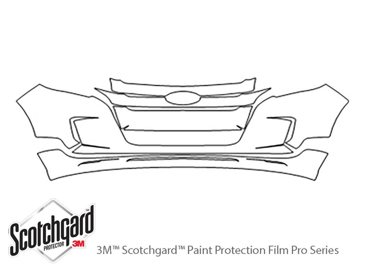 Ford Edge 2011-2014 3M Clear Bra Bumper Paint Protection Kit Diagram