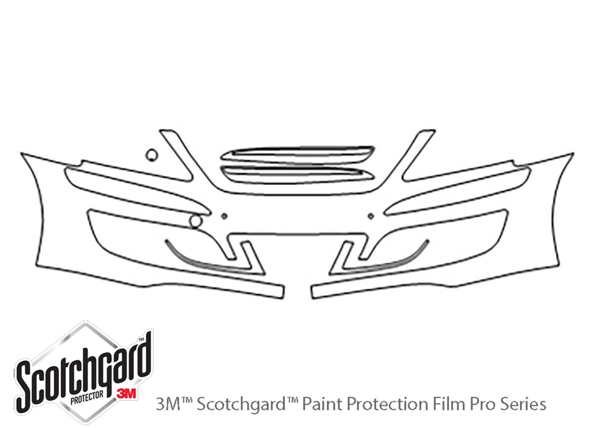 Hyundai Equus 2011-2013 3M Clear Bra Bumper Paint Protection Kit Diagram