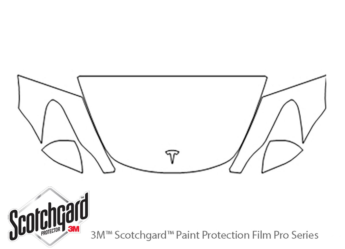 Tesla Model 3 2018-2020 3M Clear Bra Hood Paint Protection Kit Diagram