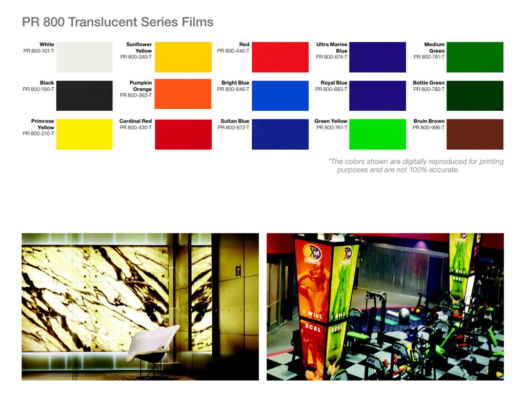 Avery PR800 Translucent Vinyl Film Color Chart