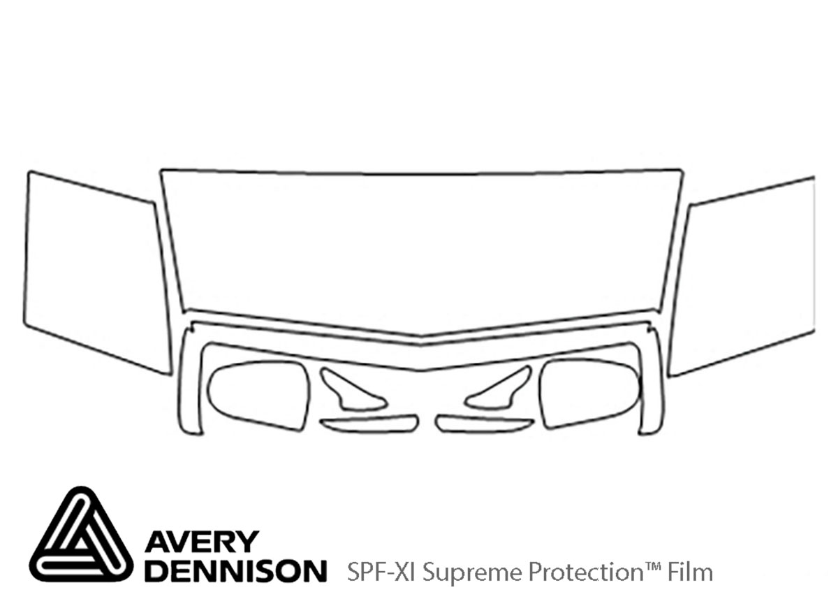 Cadillac Eldorado 1992-2001 Avery Dennison Clear Bra Hood Paint Protection Kit Diagram