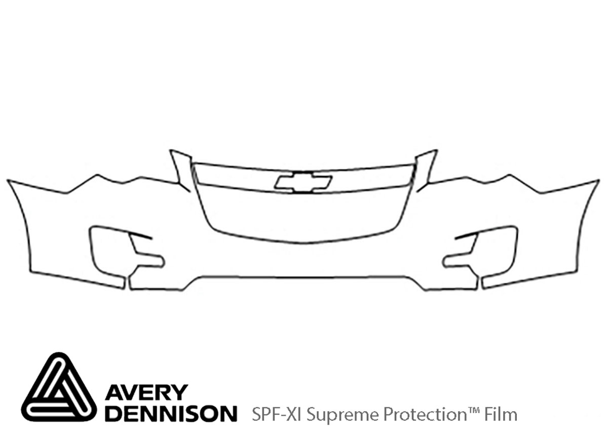 Chevrolet Equinox 2010-2015 Avery Dennison Clear Bra Bumper Paint Protection Kit Diagram