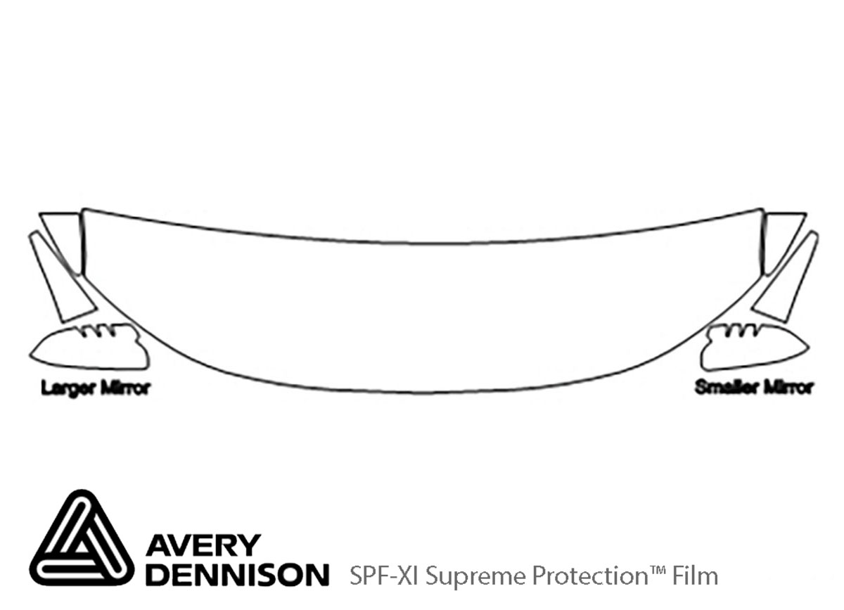 Ford Edge 2011-2014 Avery Dennison Clear Bra Hood Paint Protection Kit Diagram