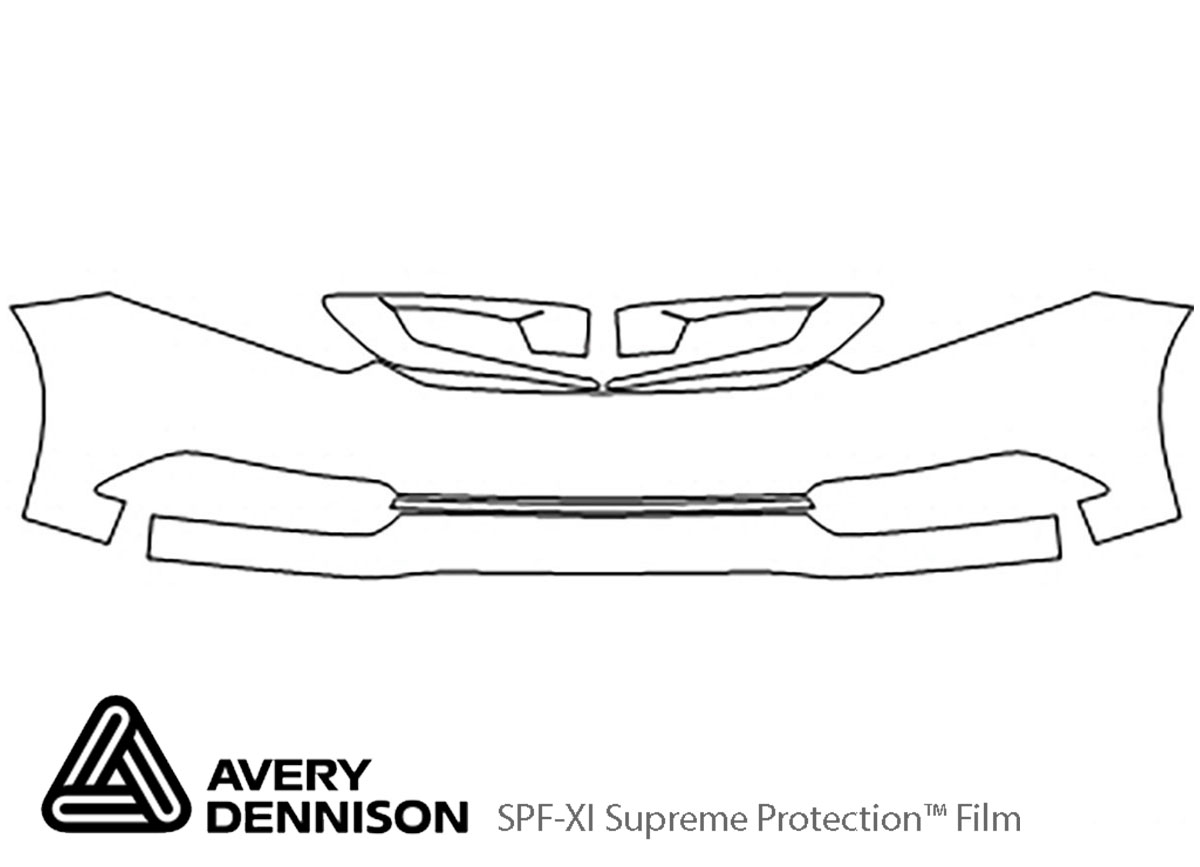 Honda Civic 2012-2015 Avery Dennison Clear Bra Bumper Paint Protection Kit Diagram