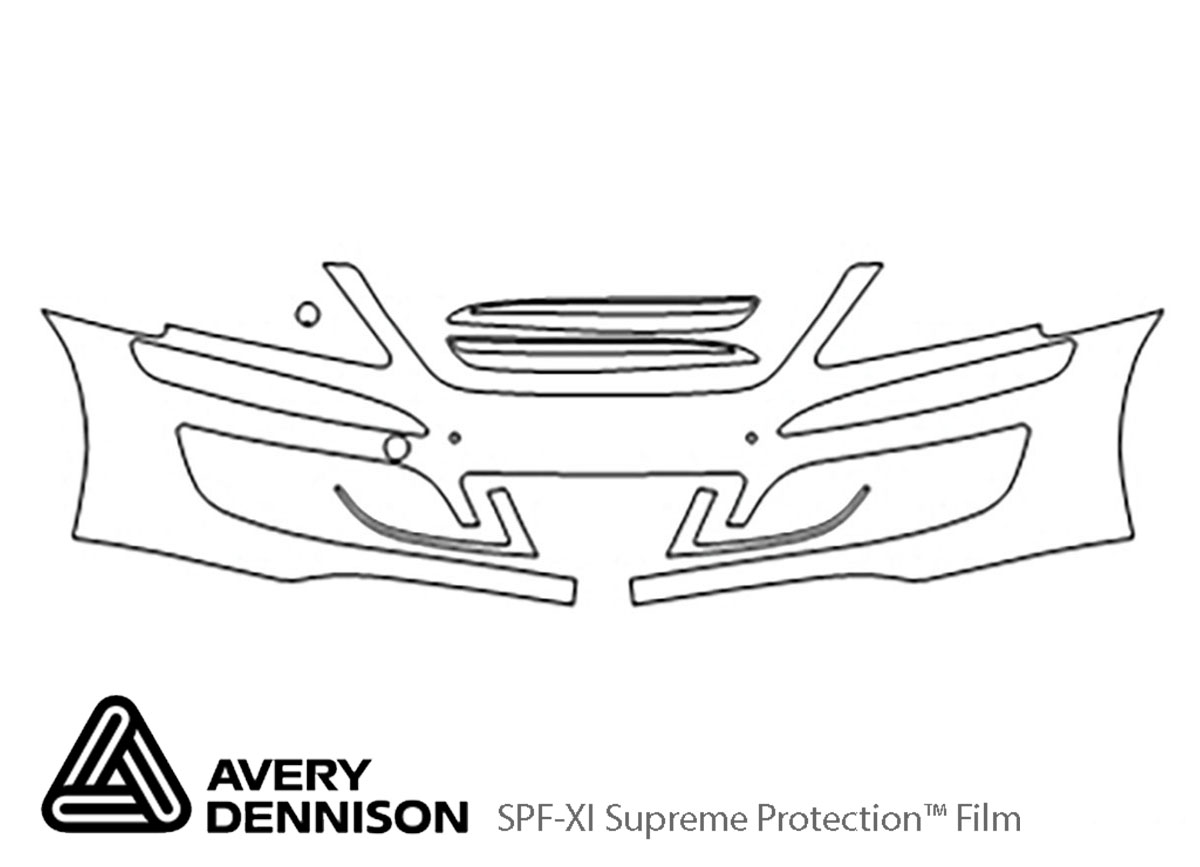 Hyundai Equus 2011-2013 Avery Dennison Clear Bra Bumper Paint Protection Kit Diagram