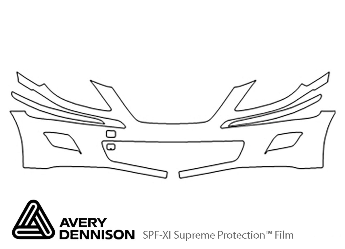 Hyundai Genesis 2009-2011 Avery Dennison Clear Bra Bumper Paint Protection Kit Diagram