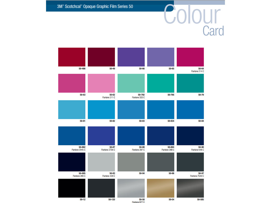 3M 50 Scotchcal Craft Film Pantone Color Chart