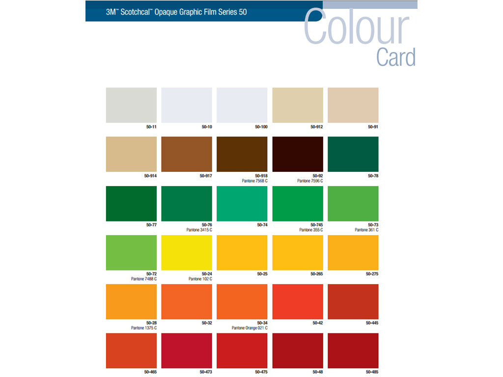 3M 50 Scotchcal Vinyl Film Pantone Color Chart