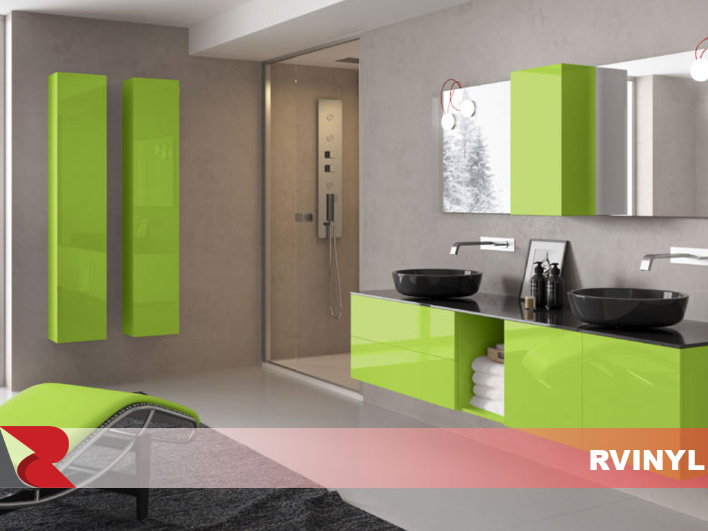 3M Glossy Green Bathroom Cabinet Wraps