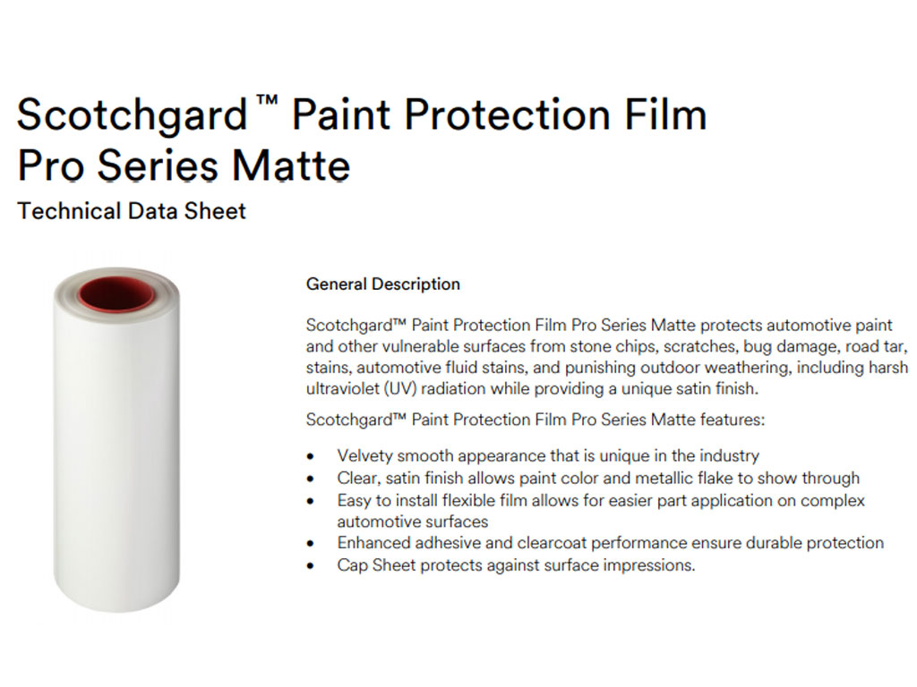 3M Matted Paint Protection Film Sheets