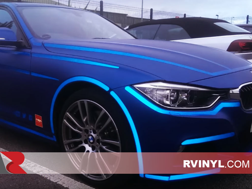 3M™ 680 Blue Reflective Film Accent Wraps on a BMW