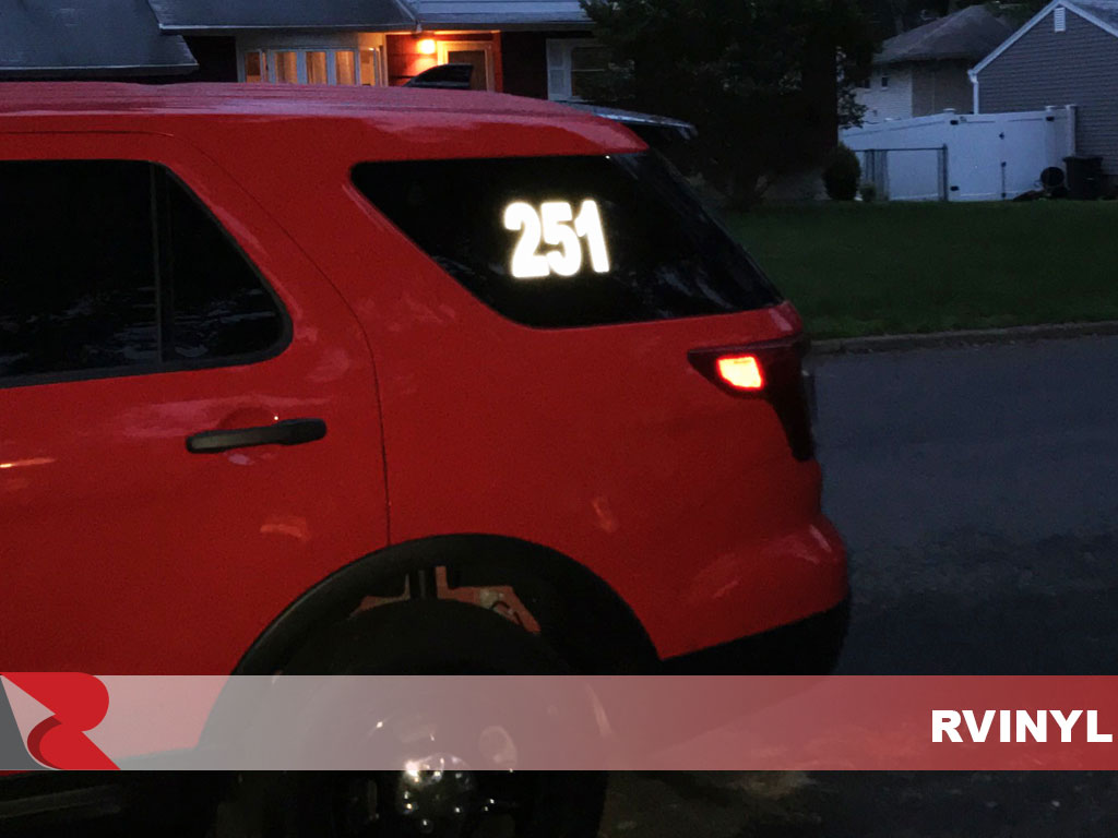 3M™ 680 Black Reflective Fire Department Window Decals at Night