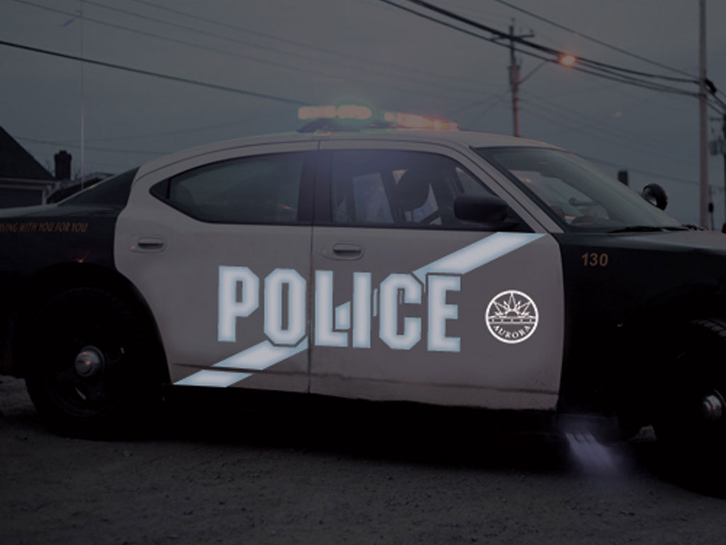 Avery Dennison HP750 Black Reflective Vinyl Decal Installed on Police Car