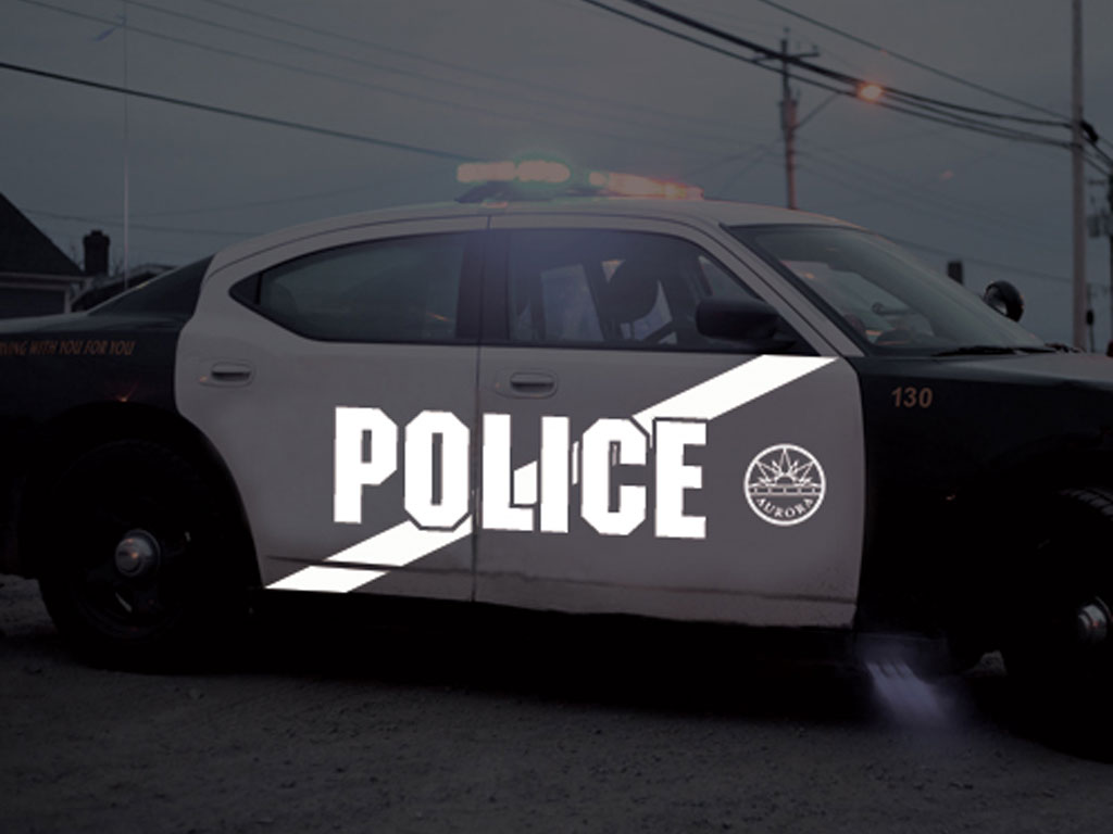 Avery Dennison HP750 White Reflective Vinyl Decal Installed on Police Car