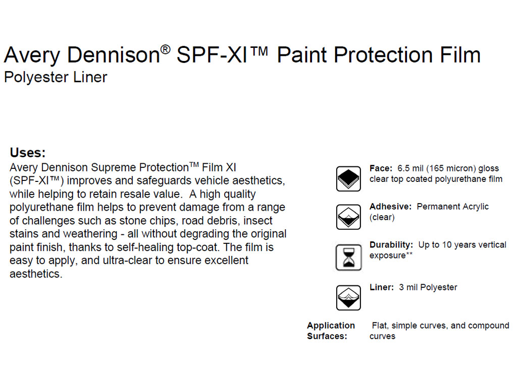 Avery Dennison SPF-XI Supreme Protection Film Polyester Liner Facts