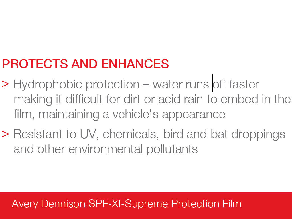 Avery Dennison SPF-XI Hydrophobic Paint Protection Film