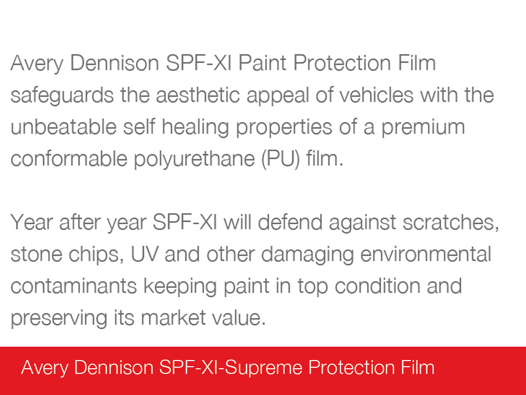 Avery Dennison SPF-XI Paint Protection Polyurethane Film