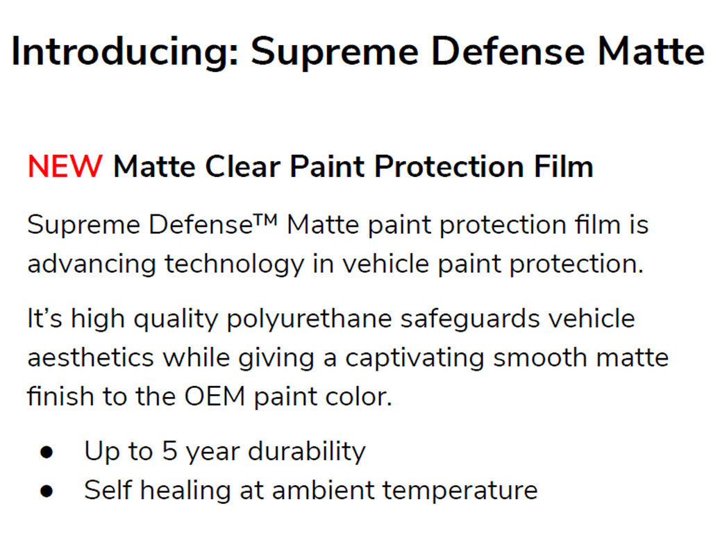 Avery Dennison Supreme Defense Matte OEM Paint Protection