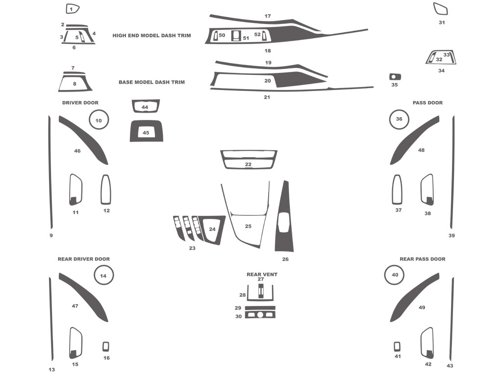 BMW 3-Series Sedan 2013-2016 Dash Kit Schematic