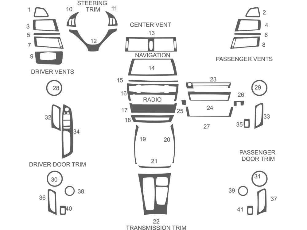 BMW X6 2008-2014 Dash Kit Schematic
