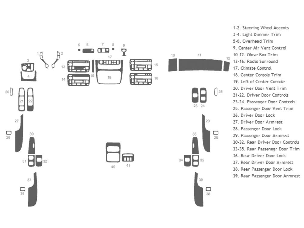 Cadillac Deville 2000-2005 Dash Kit Schematic