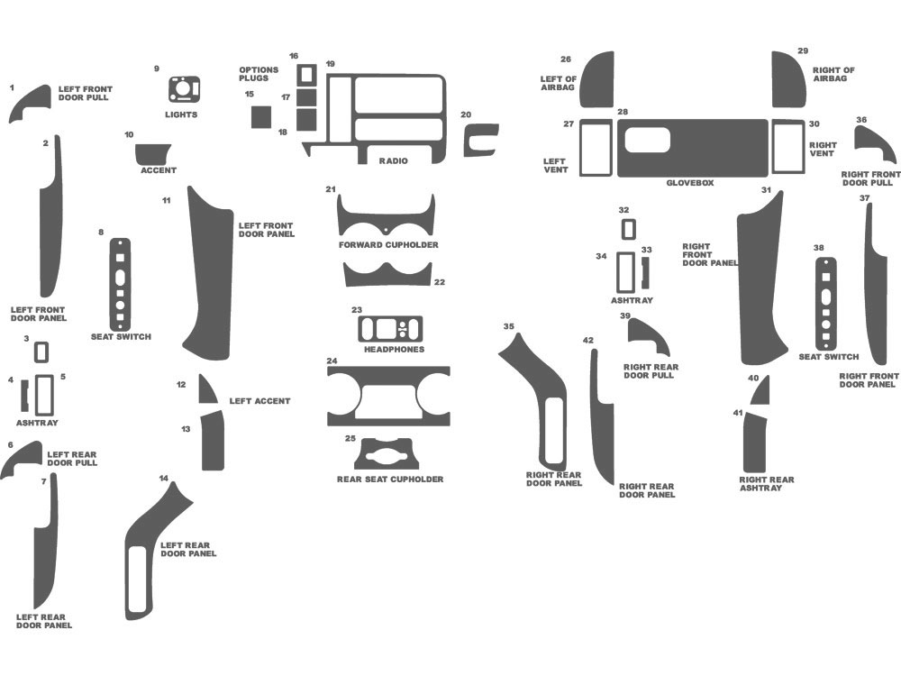 Cadillac Escalade 1999-2000 Dash Kit Schematic