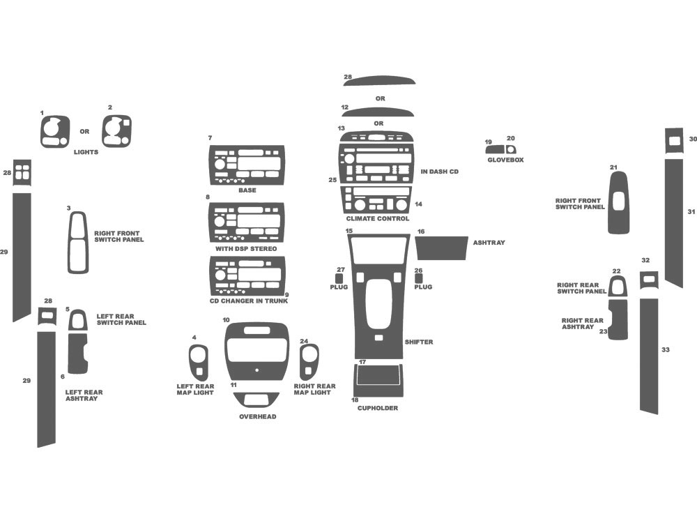 Cadillac Seville 1998-2004 Dash Kit Schematic