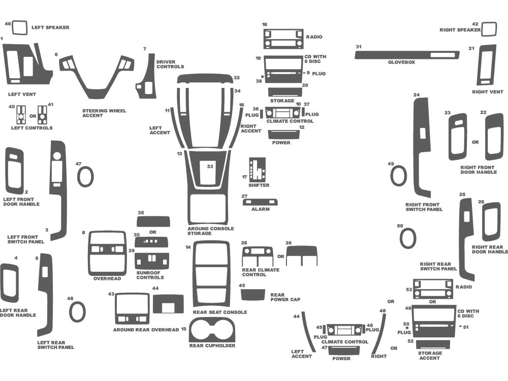 Cadillac STS 2005-2007 Dash Kit Schematic